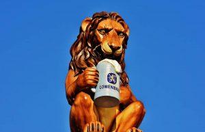 lowenbrau - Leon tomando cerveza