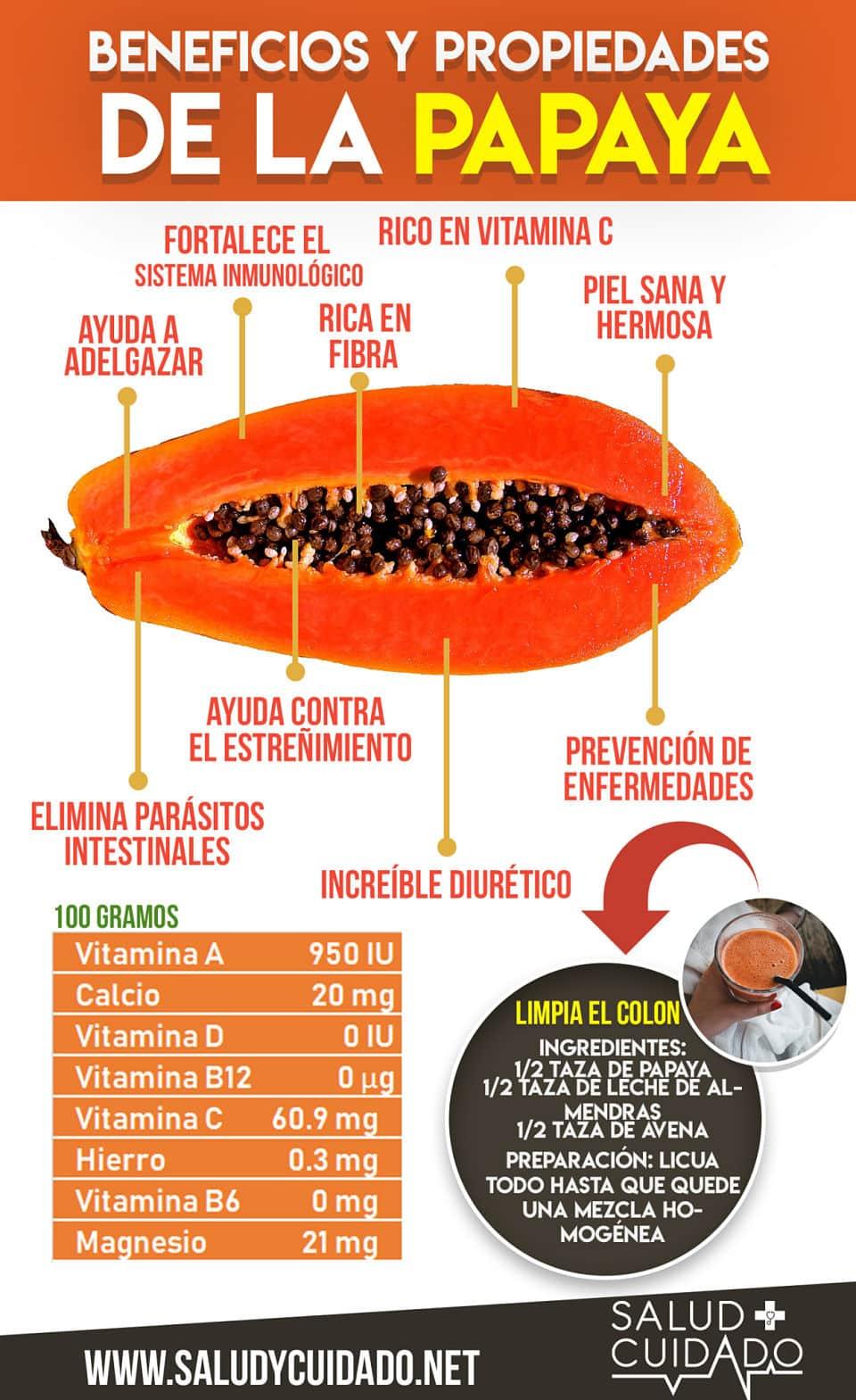 beneficios de la papaya y propiedades infografia